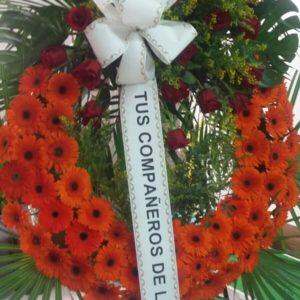 Corona Funeraria Gerberas Naranjas y Rosas